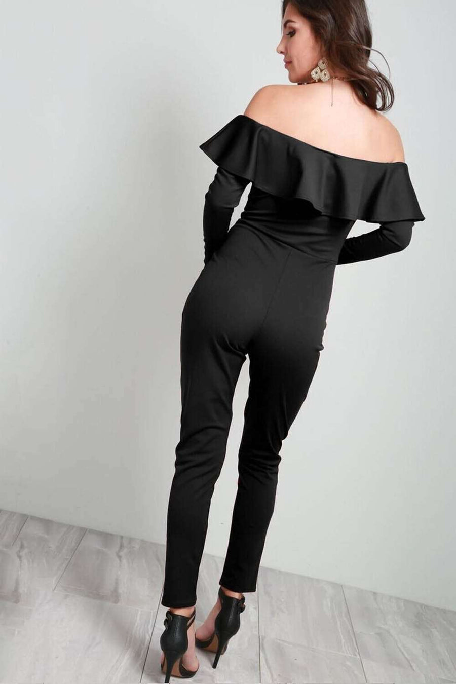 Karol Black Bardot Frill Long Sleeve Jumpsuit - bejealous-com