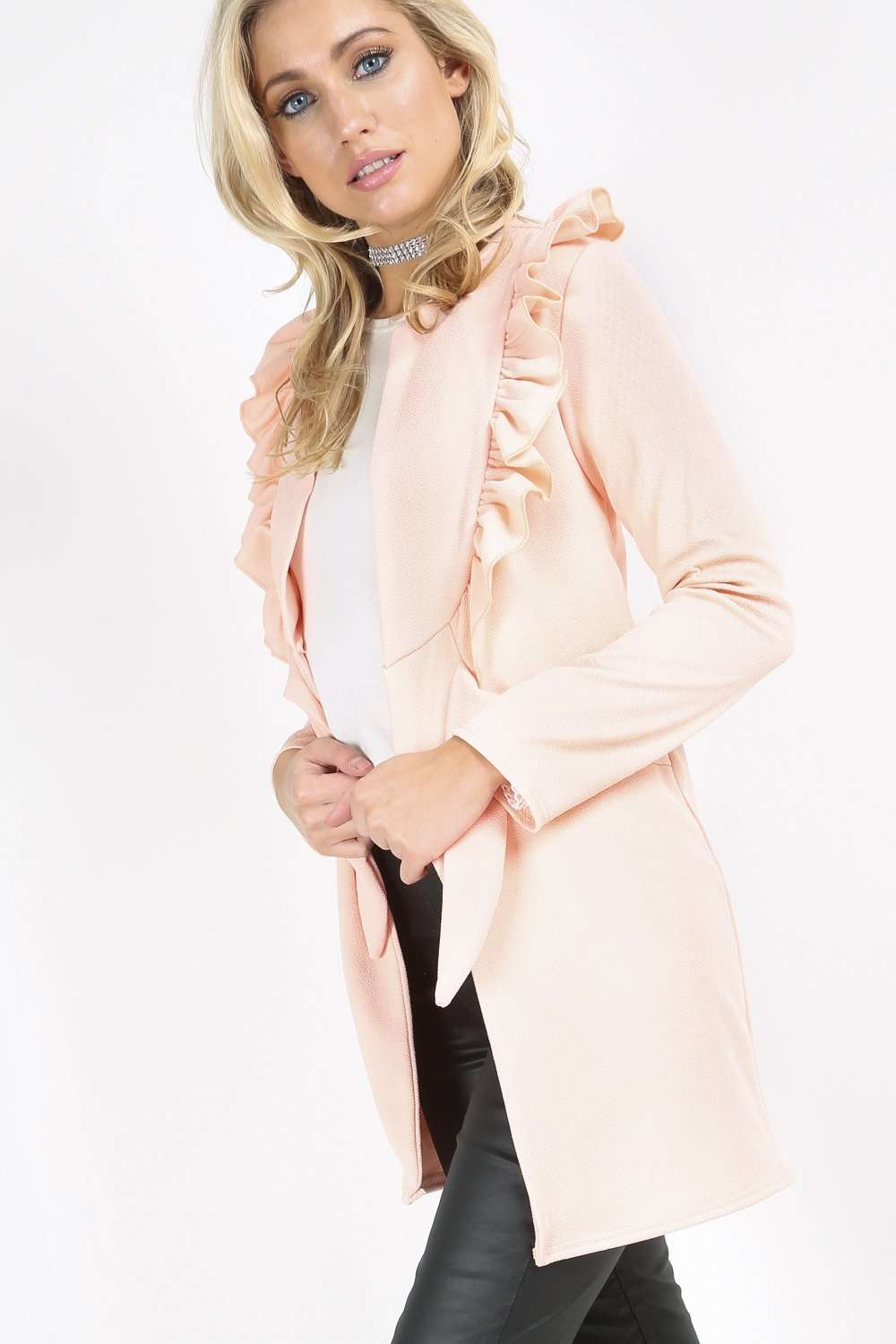 Kassandra Long Sleeve Ruffle Trim Jacket - bejealous-com