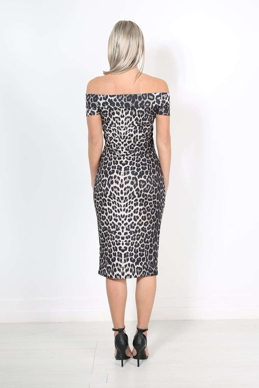 Kassie Bardot Leopard Print Midi Bodycon Dress - bejealous-com
