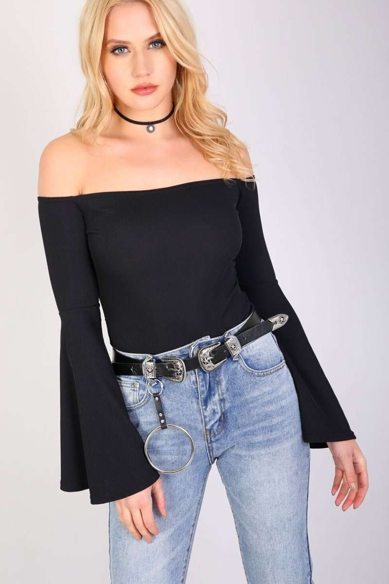 Katie Cold Shoulder Wide Sleeve Bodysuit - bejealous-com