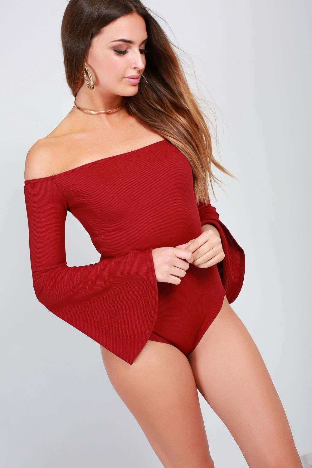 Katie Flare Sleeve Ribbed Knit Bodysuit - bejealous-com