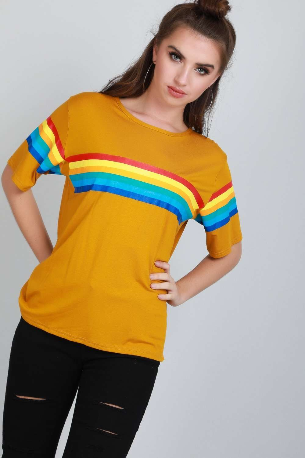 Katie Rainbow Striped Oversized Jersey Tshirt - bejealous-com