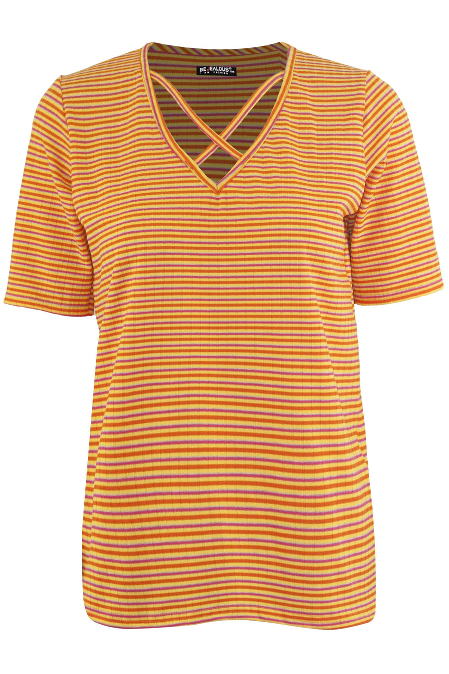 Kaya Mulitcolour Striped Strappy Baggy Tshirt - bejealous-com