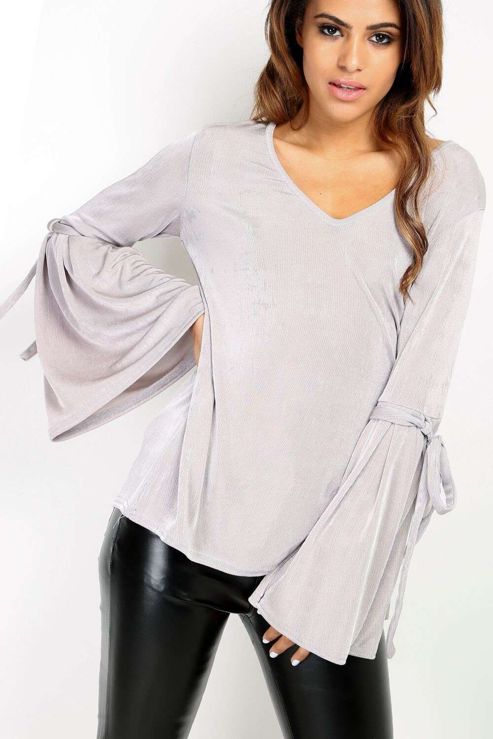 Kayah Knotted Bell Sleeve Top - bejealous-com