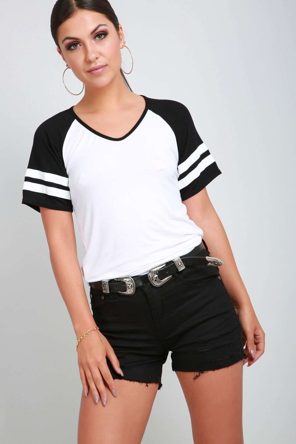 Kayleigh Jersey Striped Sleeve Contrast Tshirt - bejealous-com