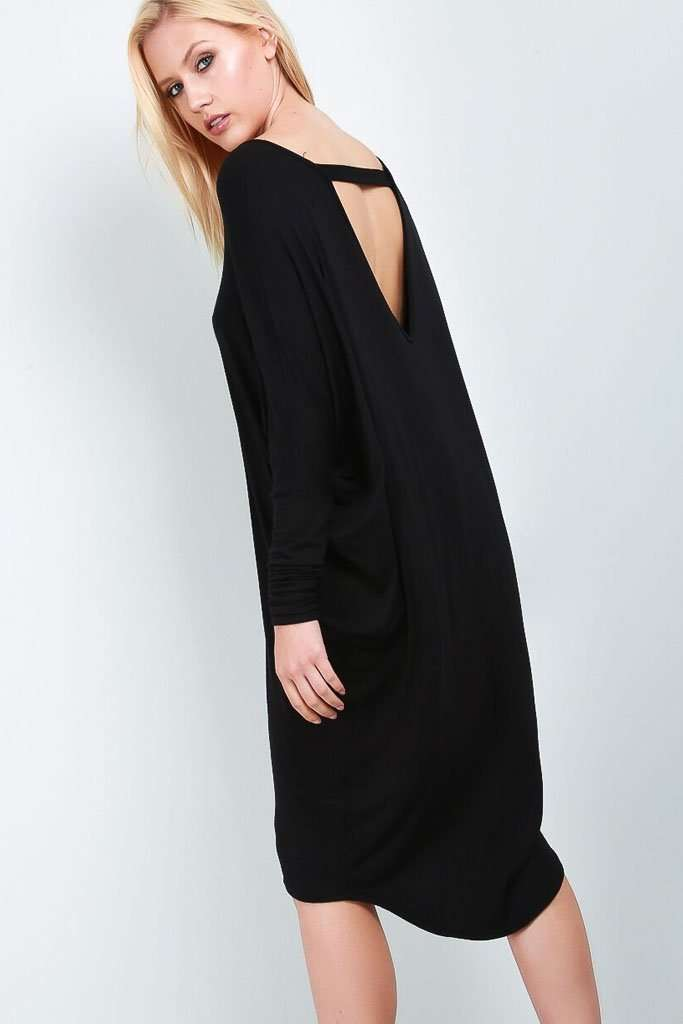 Kayley Long Sleeve Open Back Midi Dress - bejealous-com