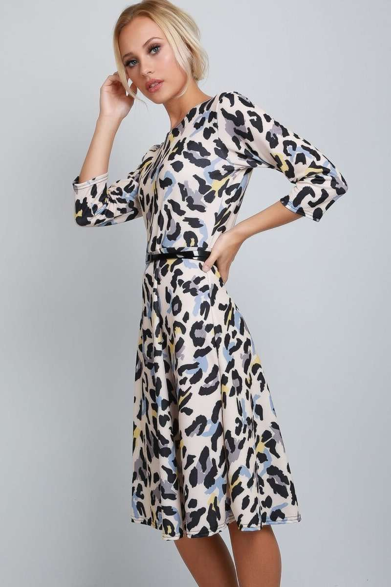 Keely Long Sleeve Leopard Print Midi Swing Dress - bejealous-com