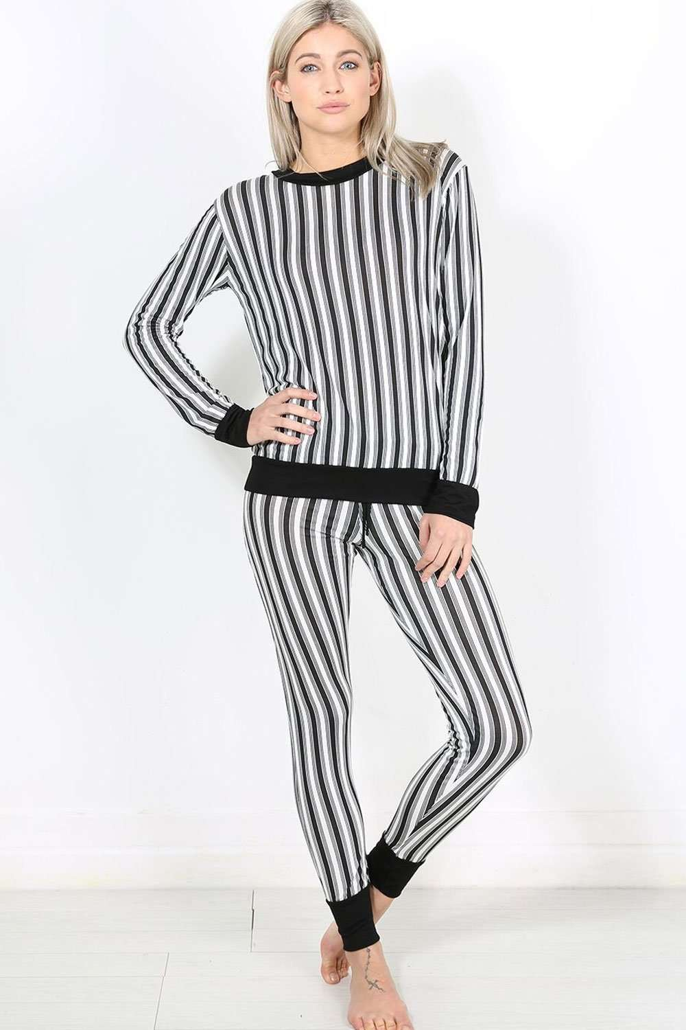 Keely Monochrome Striped Lounge Wear Set - bejealous-com