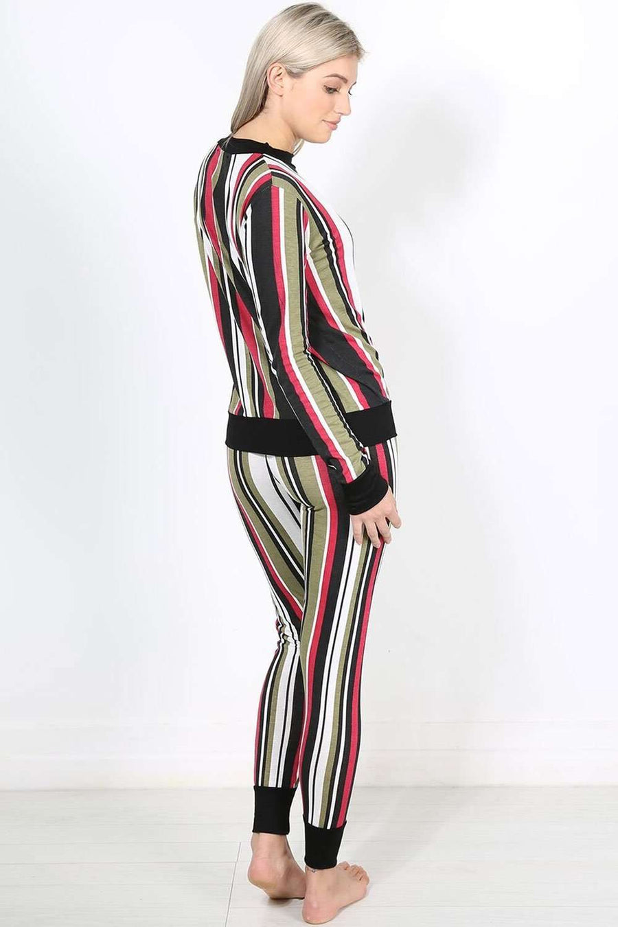 Keely Multi Colour Striped Lounge Wear Set - bejealous-com