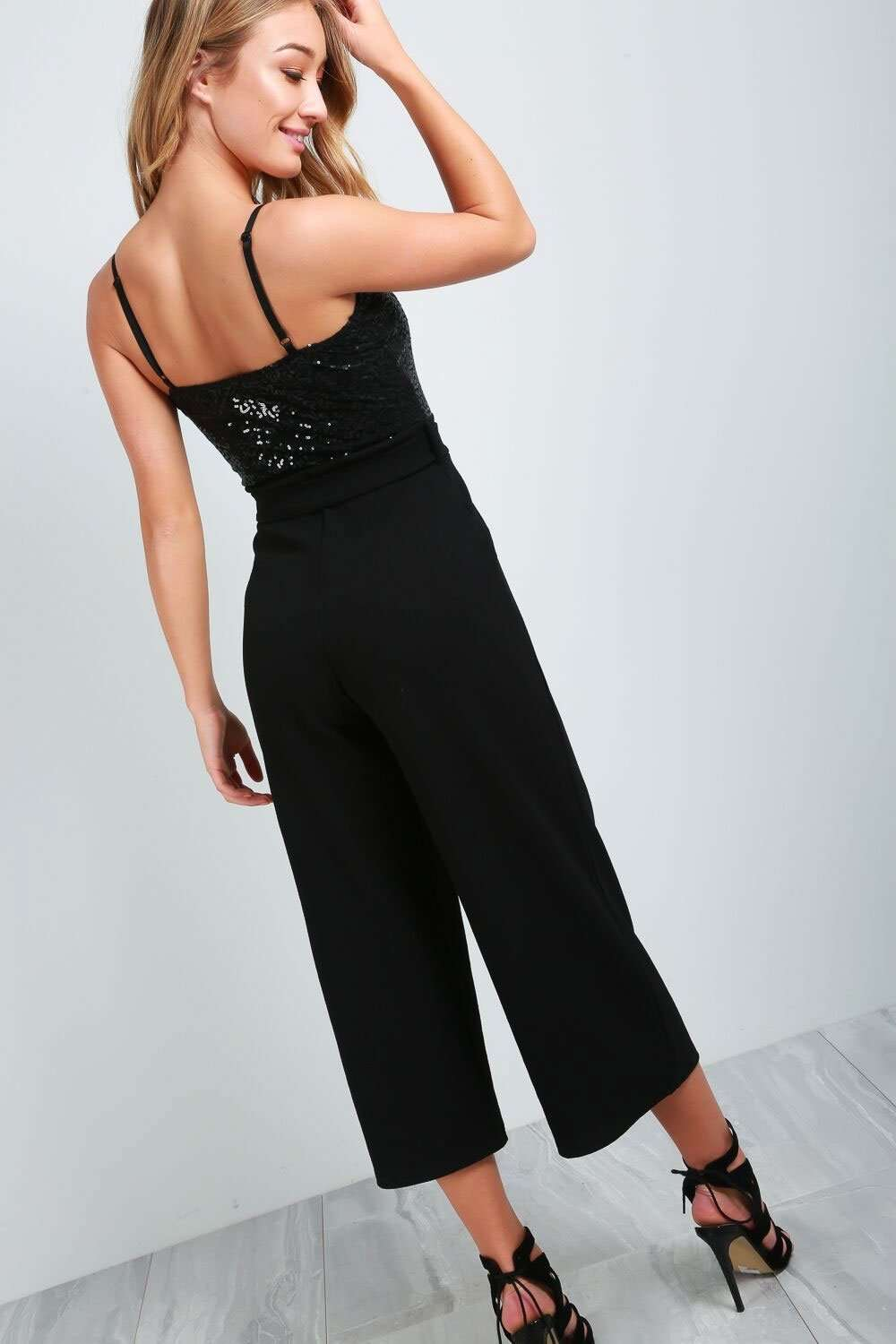 Keely Strappy Sequin Belted Culotte Leg Jumpsuit - bejealous-com