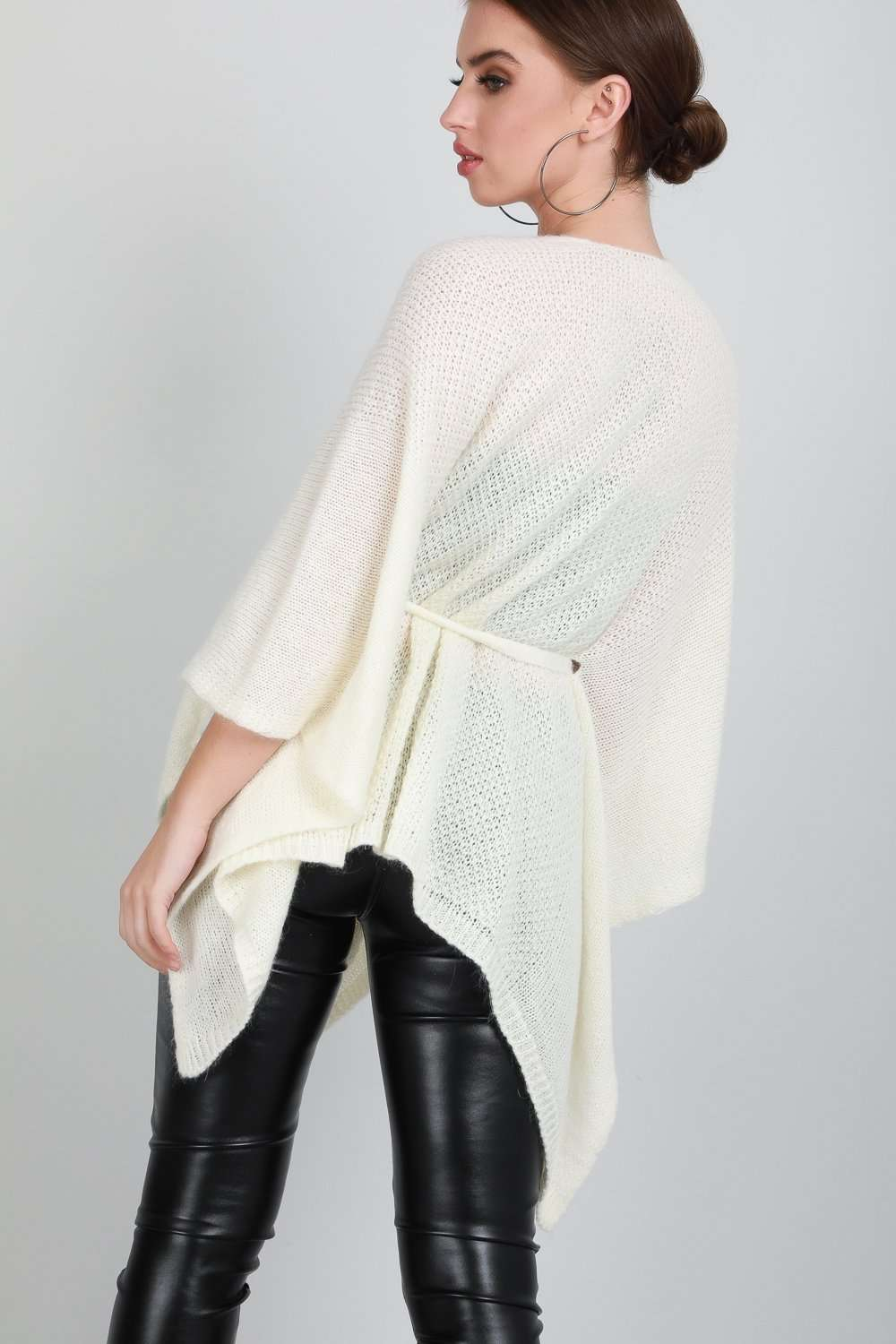 Kelsi Draped Waterfall Belted Cardigan Shawl - bejealous-com