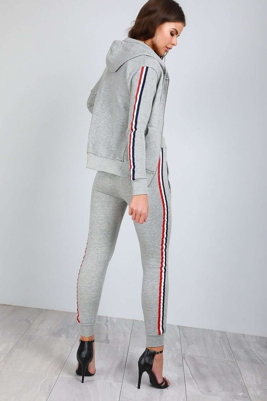 Kerry Side Stripe Fleece Line Lounge Wear Set - bejealous-com