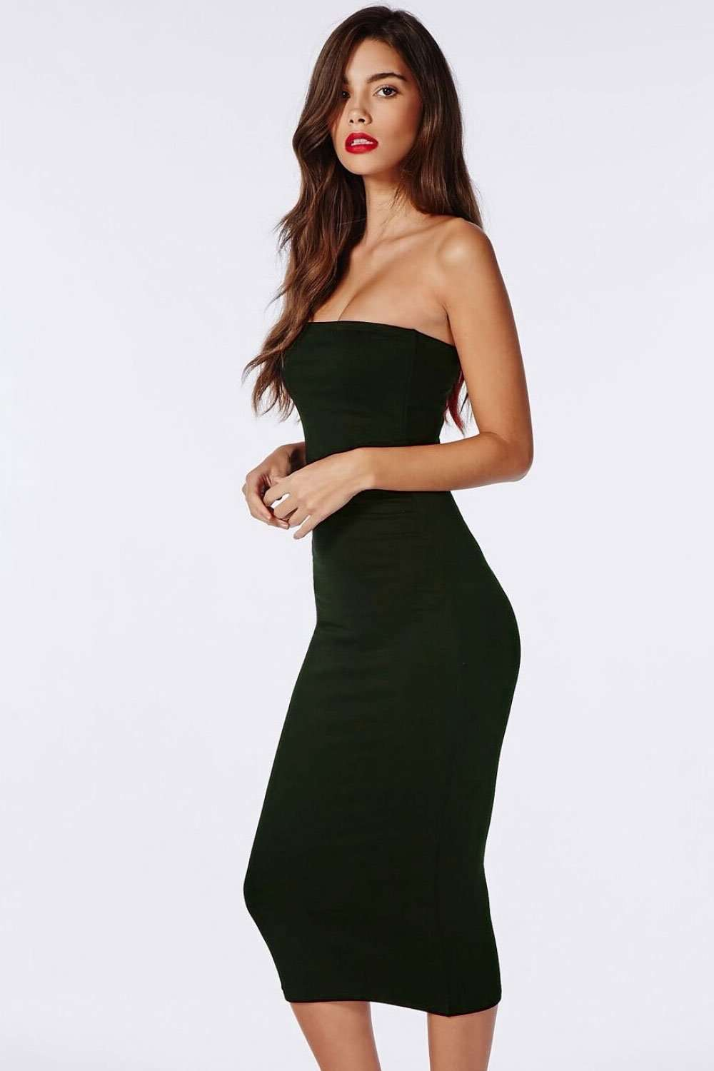 Khaki Bandeau Midi Bodycon Tube Dress - bejealous-com
