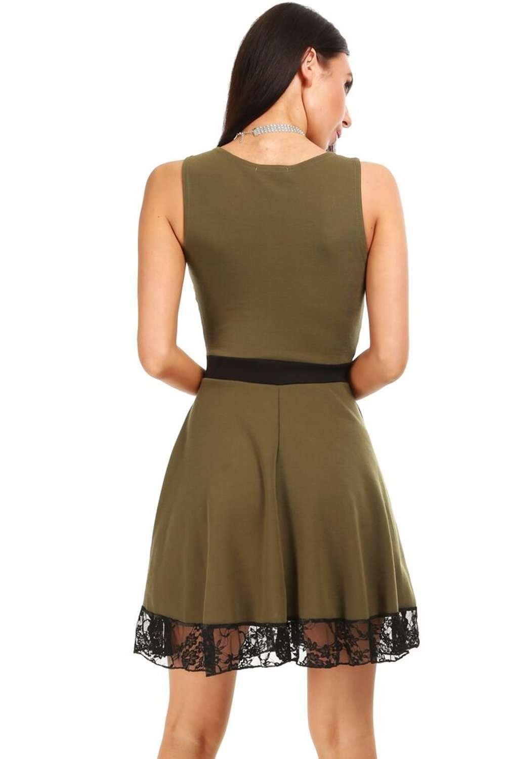 Khaki Lace Insert Sleeveless Mini Skater Dress - bejealous-com