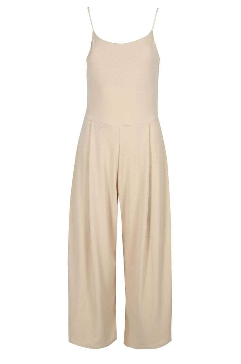 Khaki Open Back Strappy Cropped Culotte Basic Jumpsuit - bejealous-com