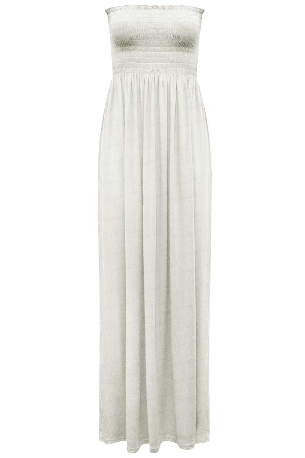 Khaki Strapless Sheering Bandeau Maxi Dress - bejealous-com