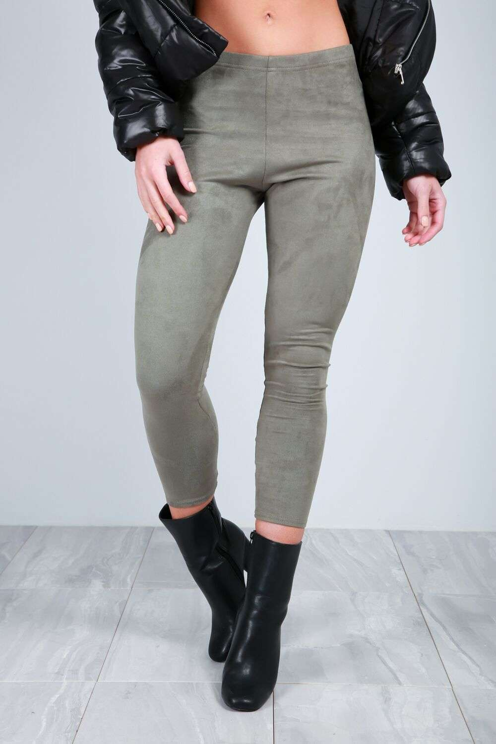 Khloe High Waist Faux Suede Cropped Leggings - bejealous-com