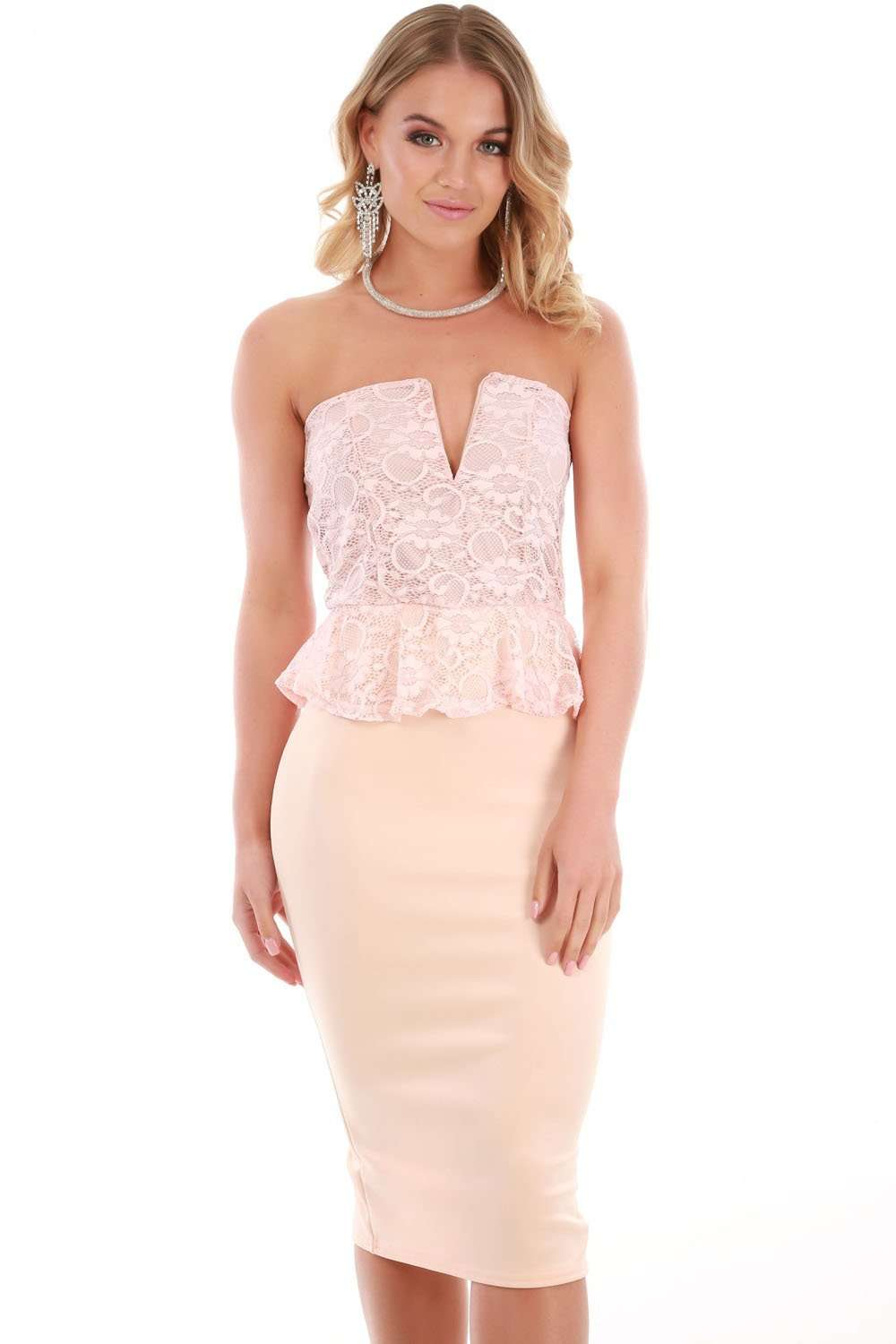 Kia Strapless Lace Peplum Bodycon Dress - bejealous-com