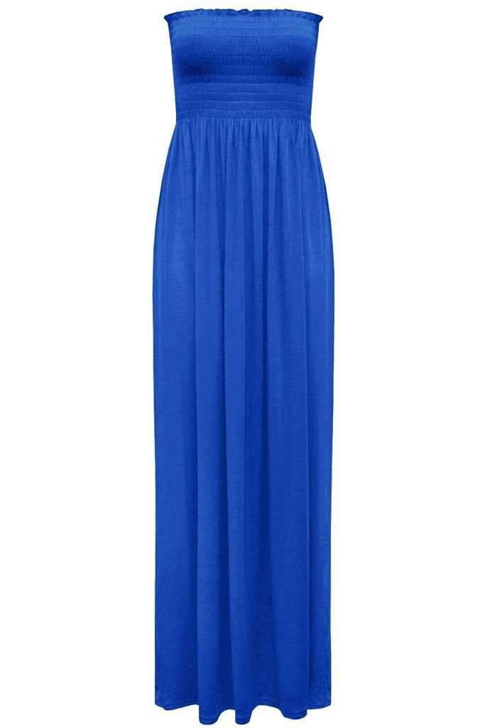 Kiana Ruched Bandeau Jersey Maxi Dress - bejealous-com