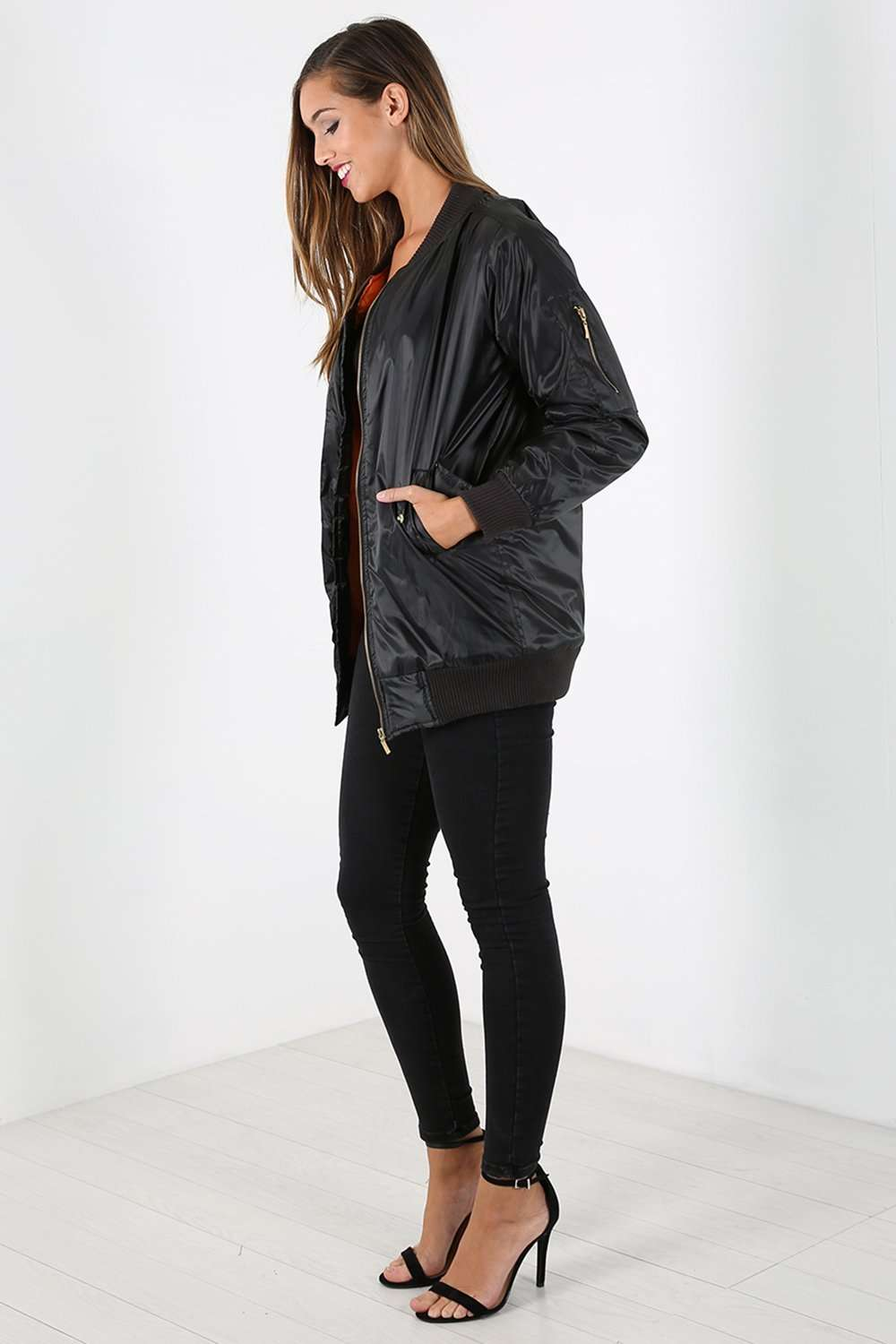 Kiera Long Sleeve Oversized Bomber Jacket - bejealous-com