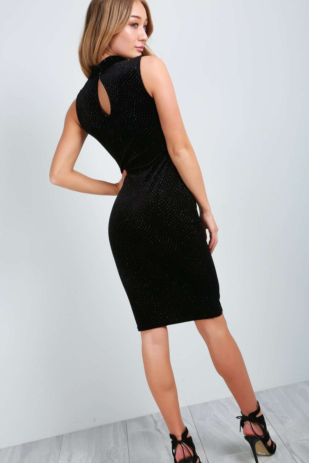 Lacie High Neck Black Velvet Midi Bodycon Dress - bejealous-com