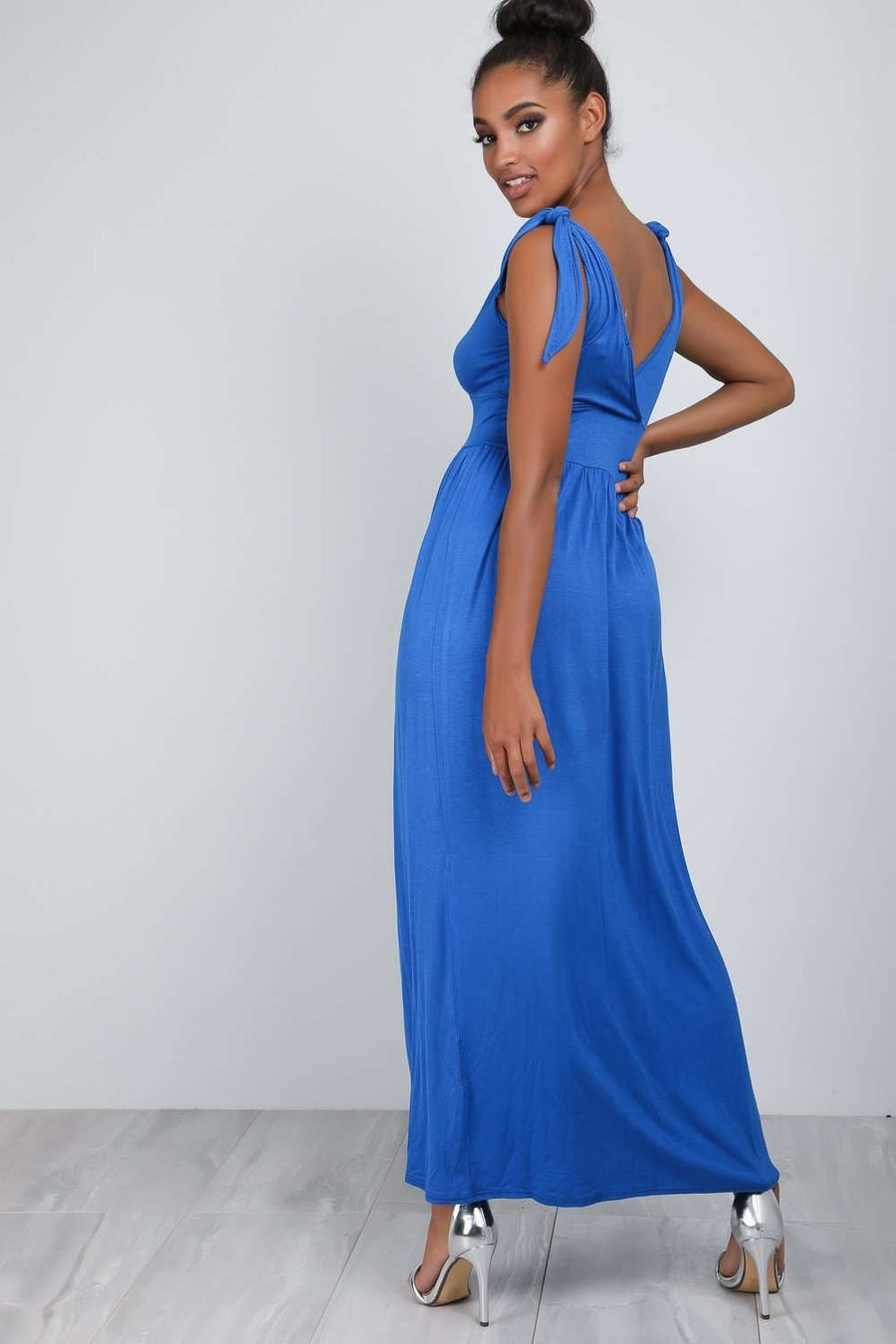 Laila Plunge Wrap Neck Knotted Maxi Dress - bejealous-com