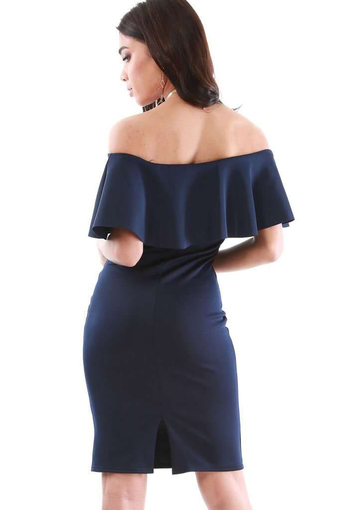 Lara Off Shoulder Frill Midi Bodycon Dress - bejealous-com
