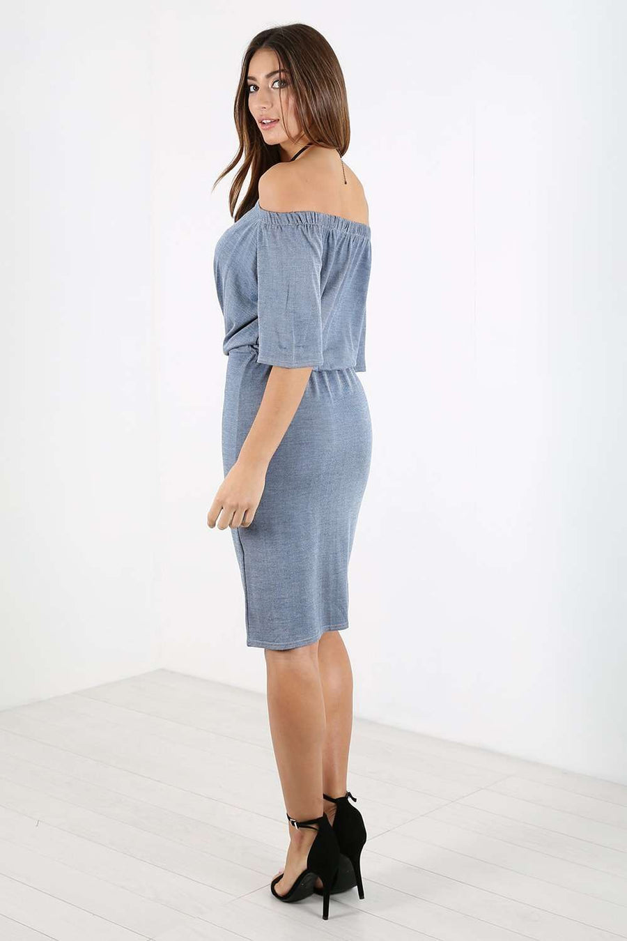 Larissa Bardot Button Down Denim Midi Dress - bejealous-com
