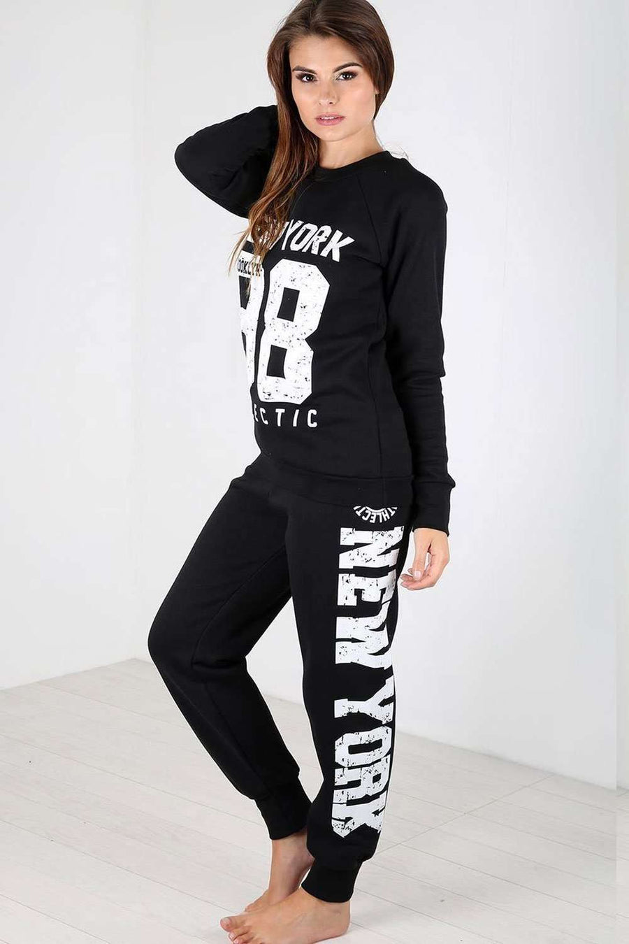 Larna New York Slogan Print Tracksuit Set - bejealous-com