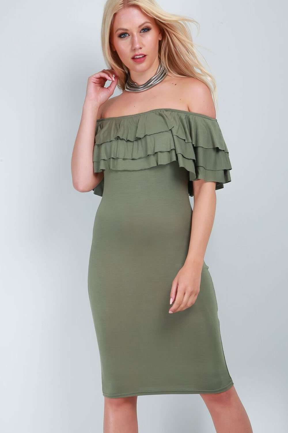 Plus Size Bardot Tiered Frill Bodycon Midi Dress - bejealous-com