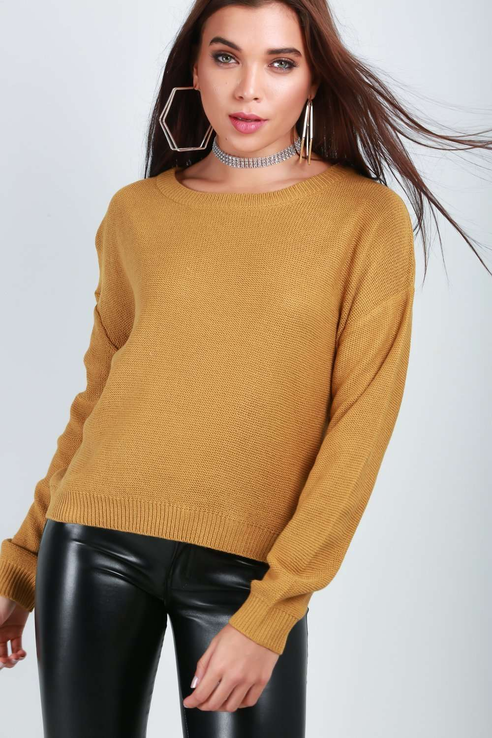 cba463f161e6de Laura Mustard Fine Knitted Cropped Jumper | Ladies Fashion Tops