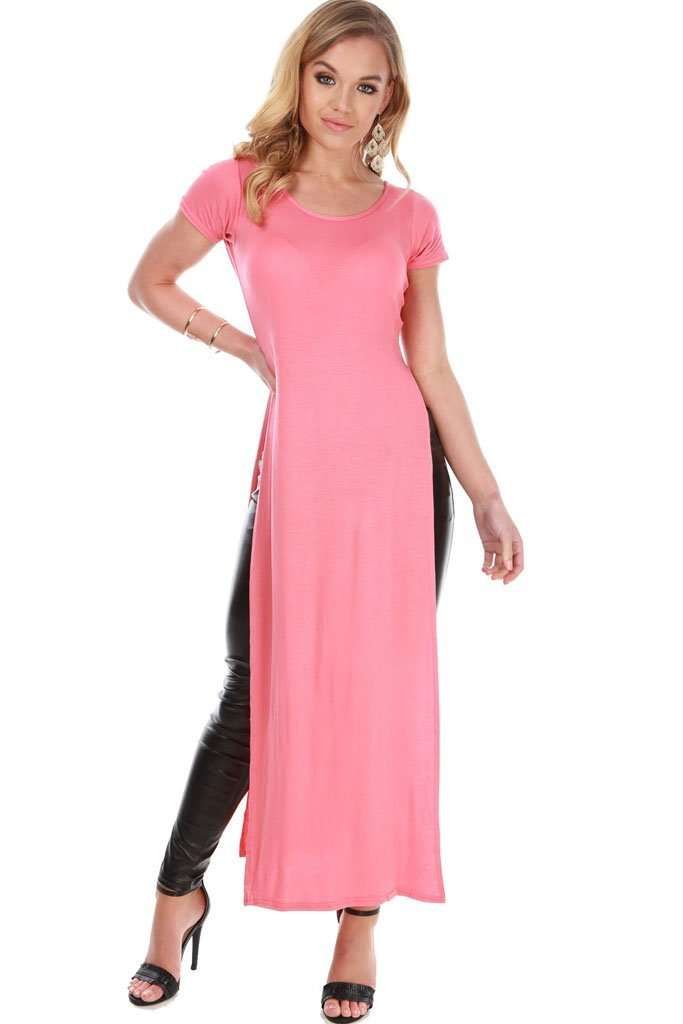 Lauren Cap Sleeve Split Maxi Tshirt Dress - bejealous-com