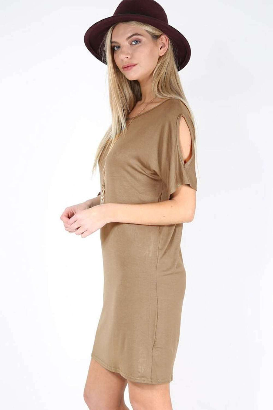 Lauren Cold Shoulder Oversized Tshirt Dress - bejealous-com