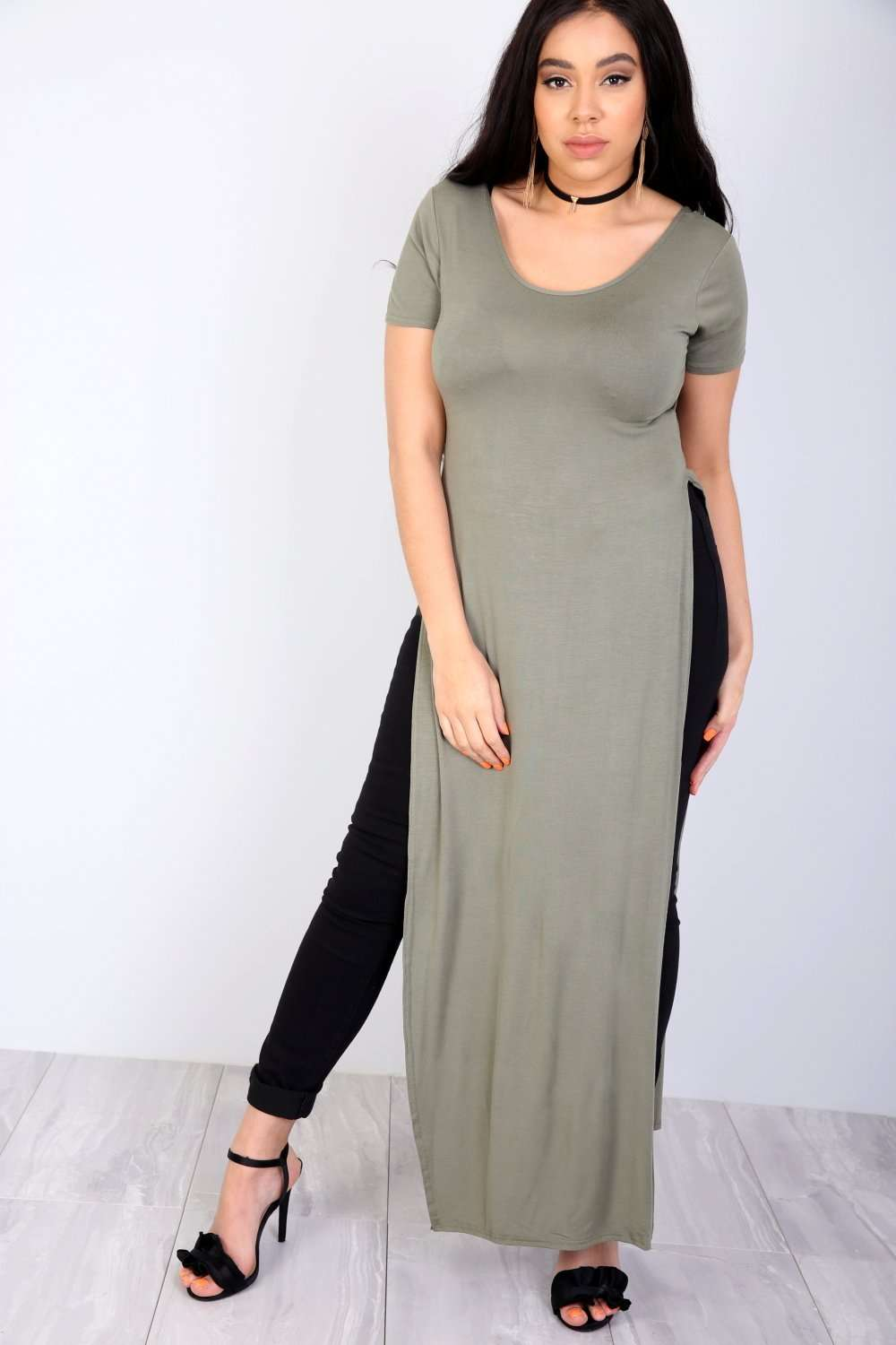 Lauren Plus Cap Sleeve Split Maxi Tshirt Dress - bejealous-com