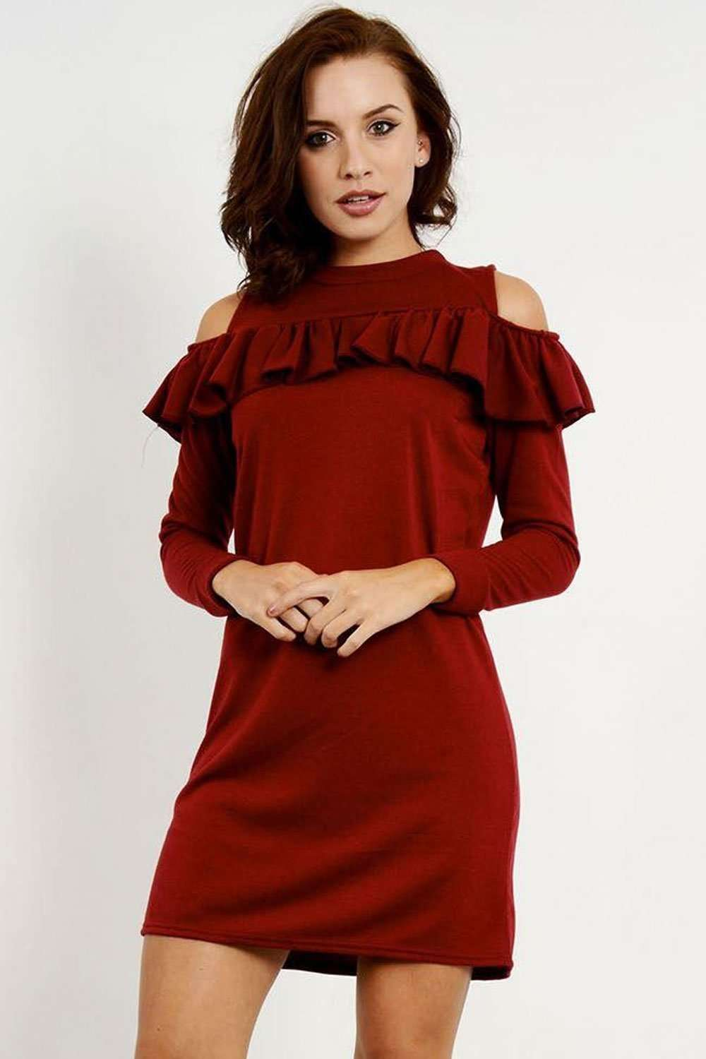 Layla Cold Shoulder Sweatshirt Dress - bejealous-com