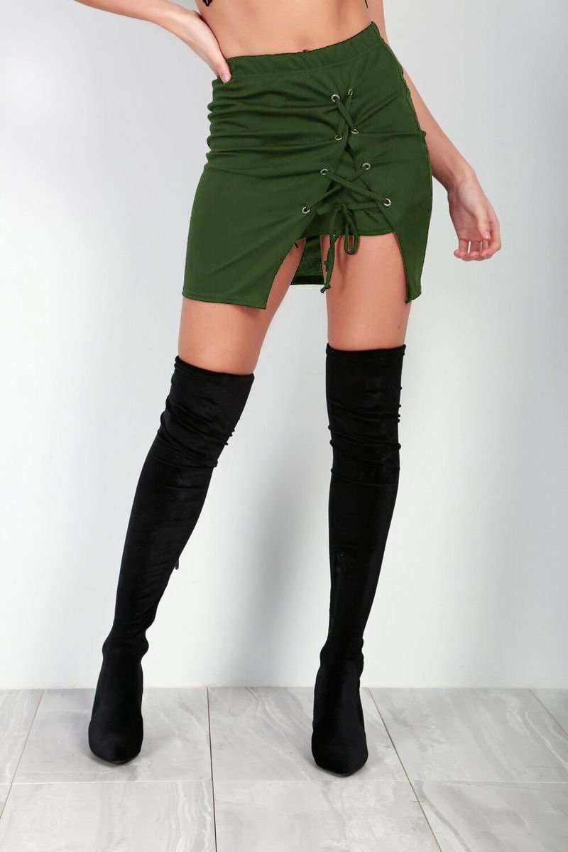Leah Lace Up Mini Skirt - bejealous-com