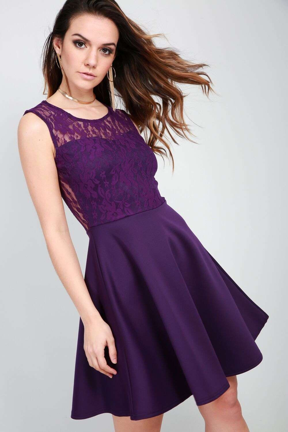 Leela Sleeveless Lace Skater Dress - bejealous-com