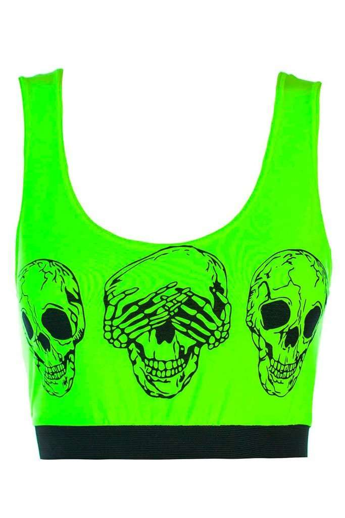Leo Skull Graphic Print Cropped Vest Top - bejealous-com