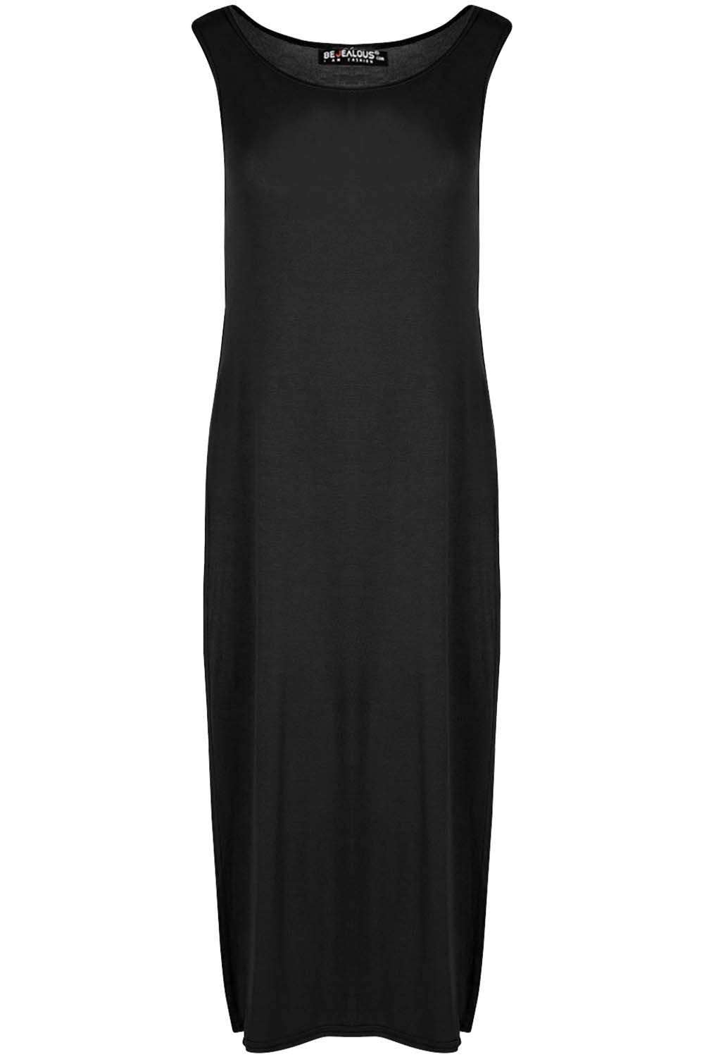 Leona Basic Jersey Side Split Maxi Tshirt Dress - bejealous-com