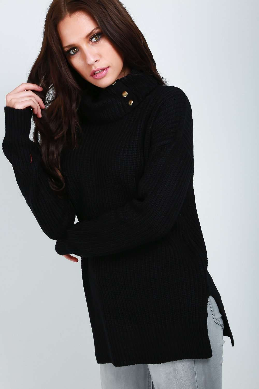 Lexi Roll Neck Chunky Knit Baggy Jumper - bejealous-com