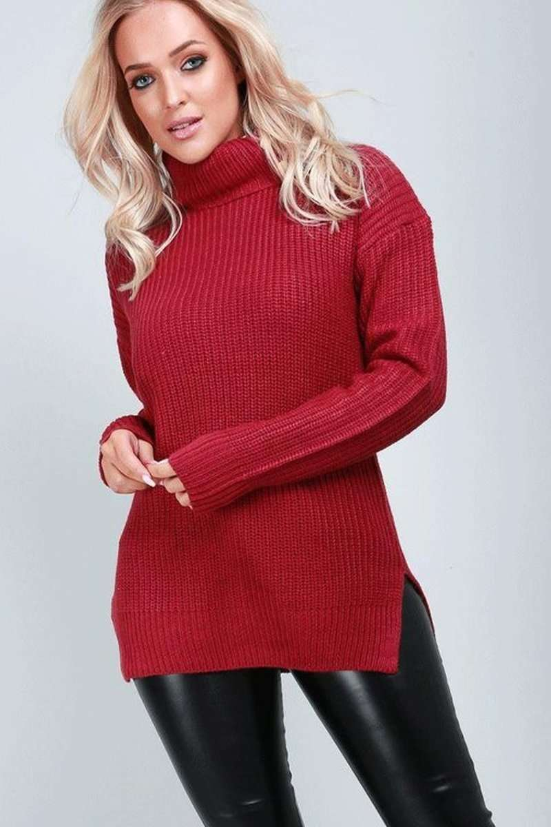 Lexi High Neck Chunky Knit Baggy Jumper - bejealous-com