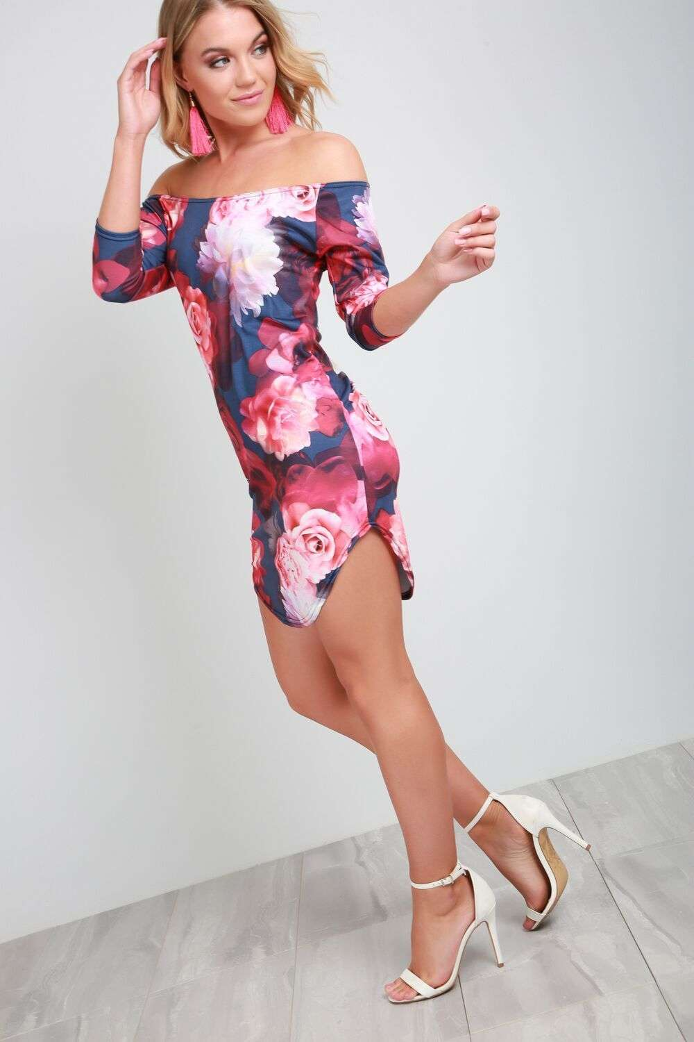 Lexi Strapless Floral Scoop Hem Mini Dress - bejealous-com