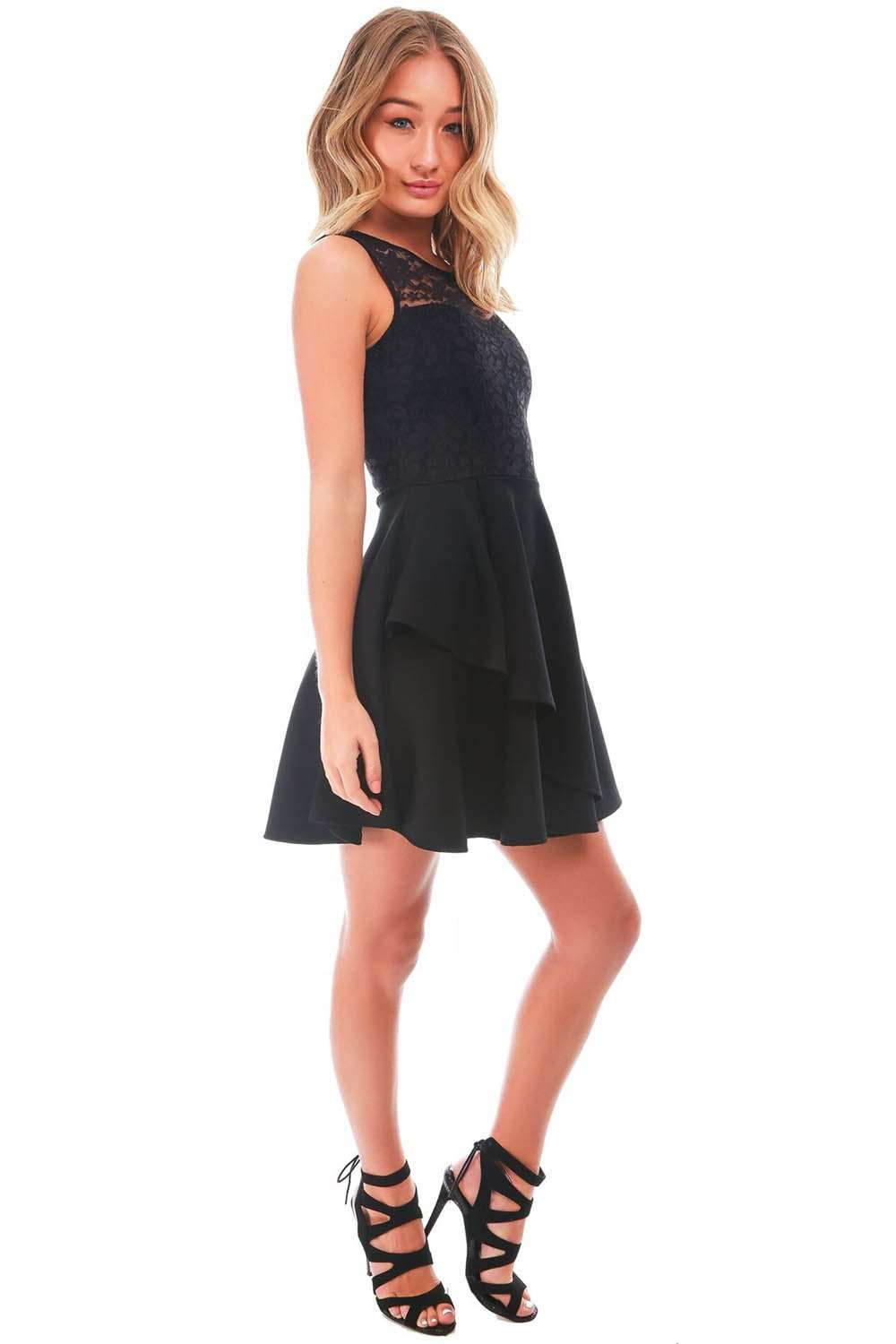 Lexie Tiered Frill Lace Mini Skater Dress - bejealous-com