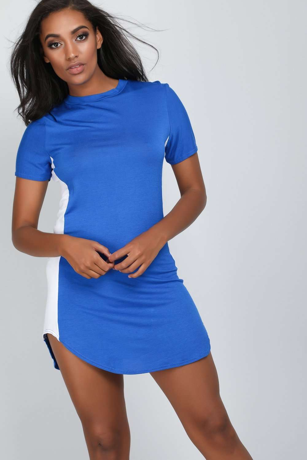 Lexy Curve Hem Panelled Tshirt Dress - bejealous-com