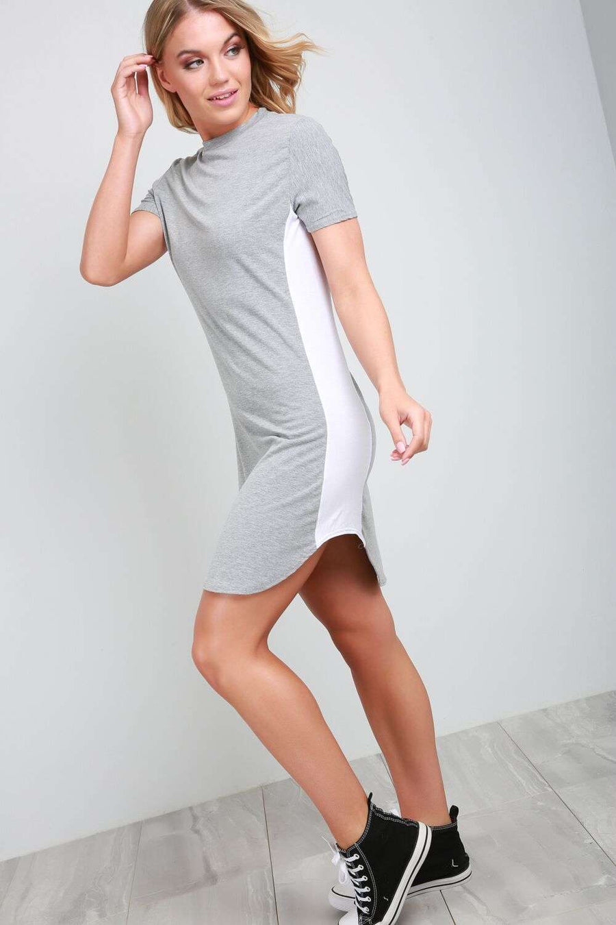 Lexy Curved Hem Paneled Tshirt Dress - bejealous-com