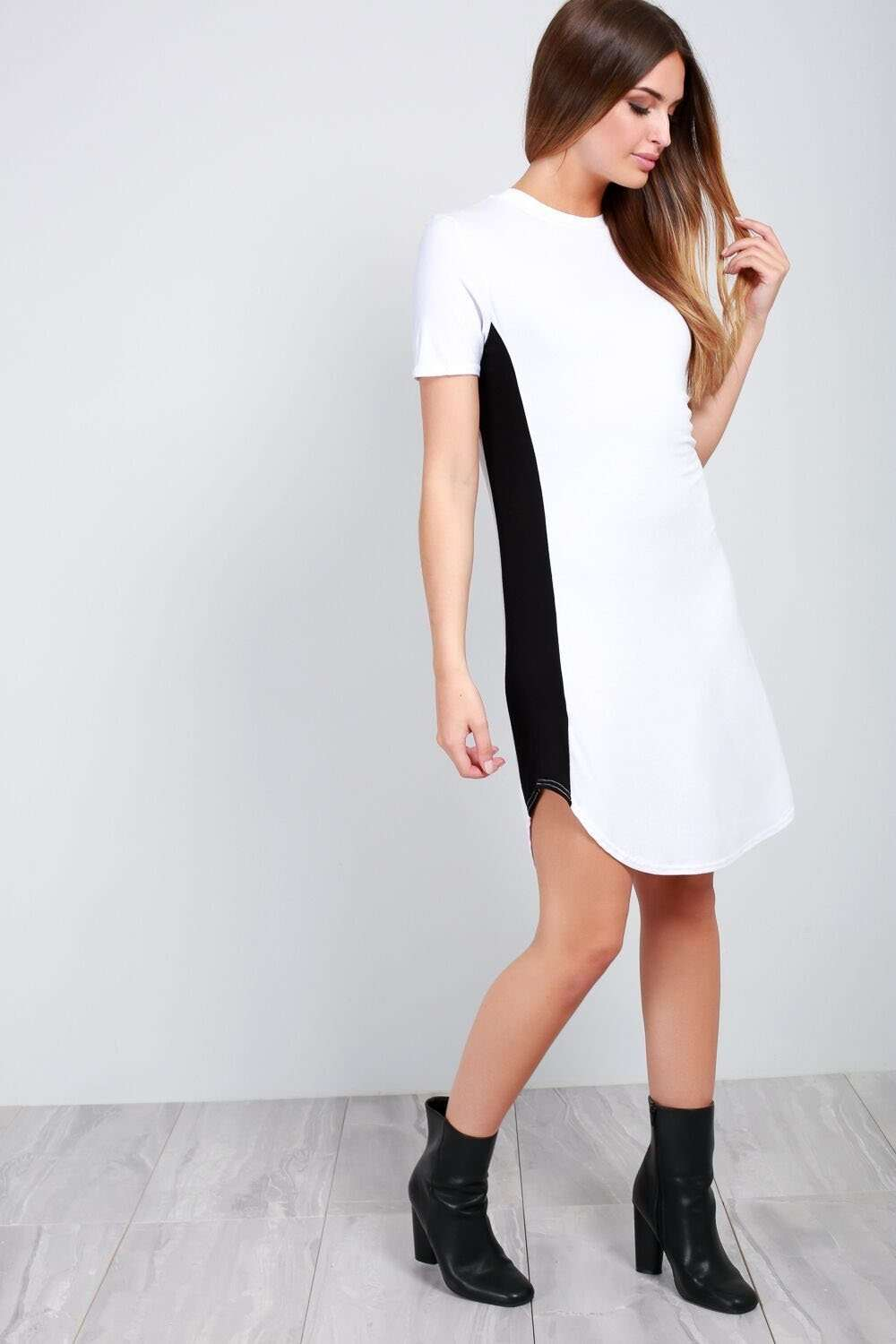 Lexy Monochrome Paneled Tshirt Dress - bejealous-com