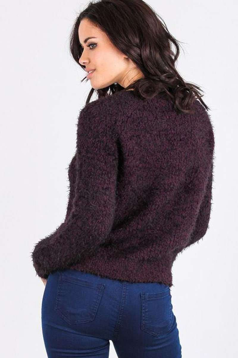 Liah Round Neck Fluffy Knitted Jumper - bejealous-com