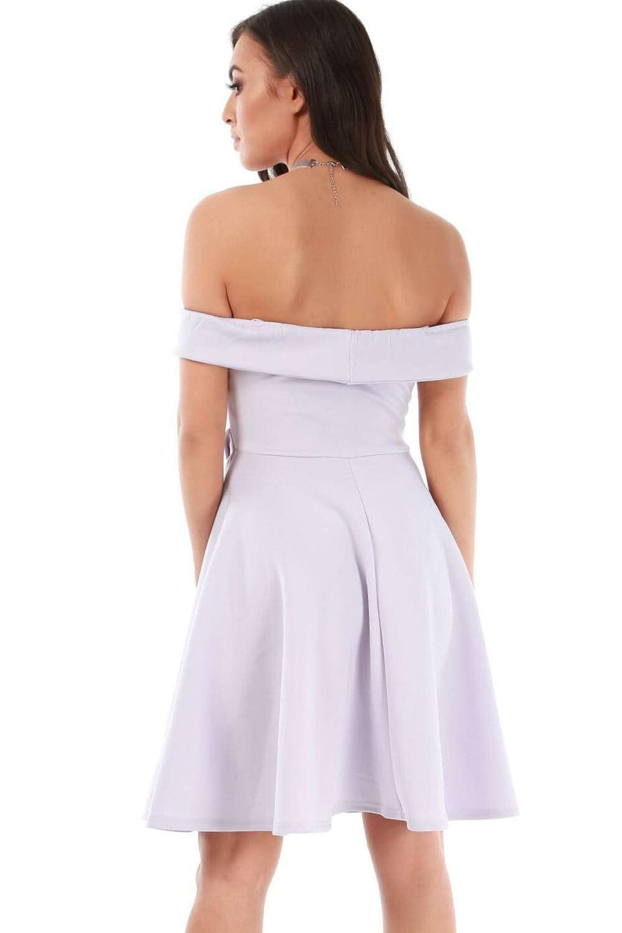 Lilac Off Shoulder Belted Wrap Mini Swing Dress - bejealous-com