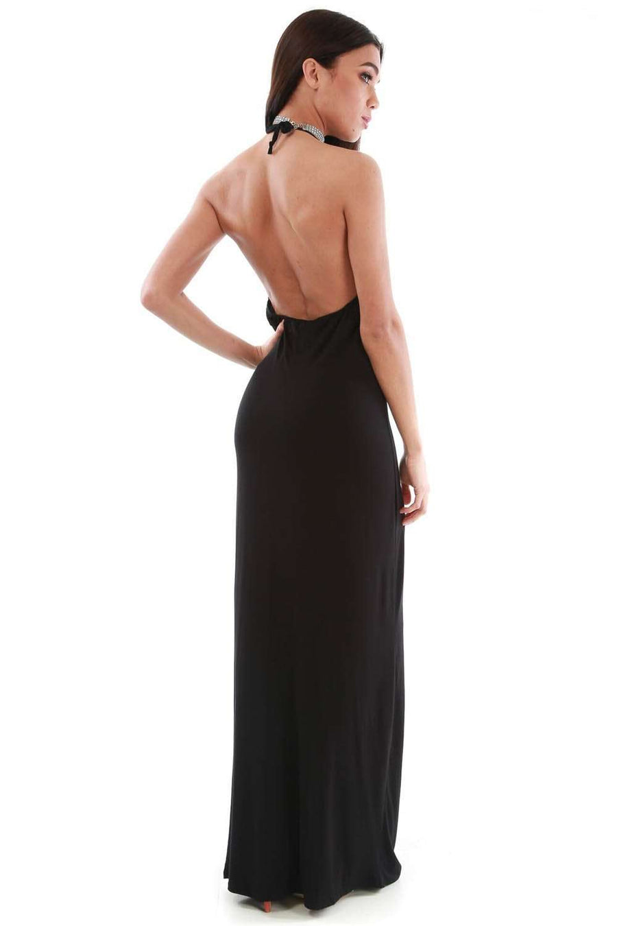 Lillie Basic Jersey Halterneck Maxi Dress - bejealous-com