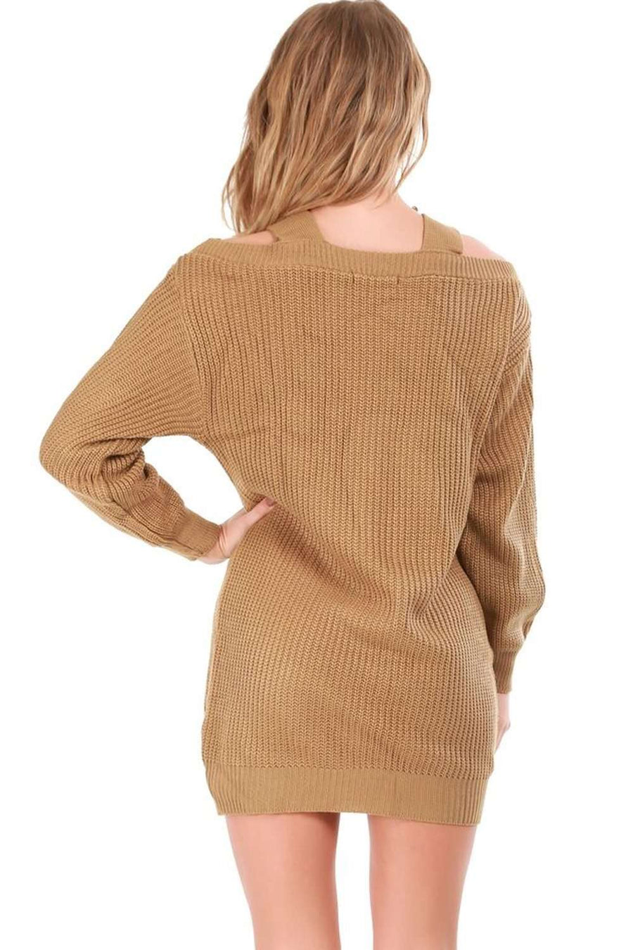Cold Shoulder Beige Knitted Jumper Dress - bejealous-com